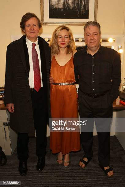 David Hare Nancy Carroll and Roger Allam pose backstage following the press night performance of The Moderate Soprano at the Duke Of Yorkâ Theatre on...