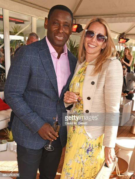 David Harewood and Kirsty Handy attend the Audi Polo Challenge at Coworth Park on May 7 2017 in Ascot United Kingdom