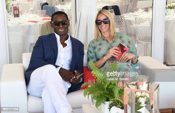 David Harewood and Kirsty Handy attend the Audi Polo Challenge at Coworth Park Polo Club on June 30 2018 in Ascot England