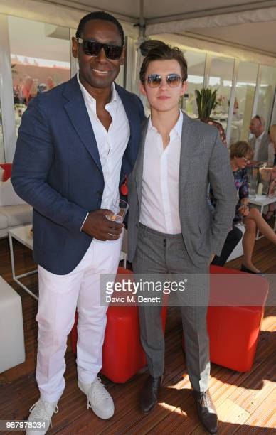David Harewood and Tom Holland attend the Audi Polo Challenge at Coworth Park Polo Club on June 30 2018 in Ascot England