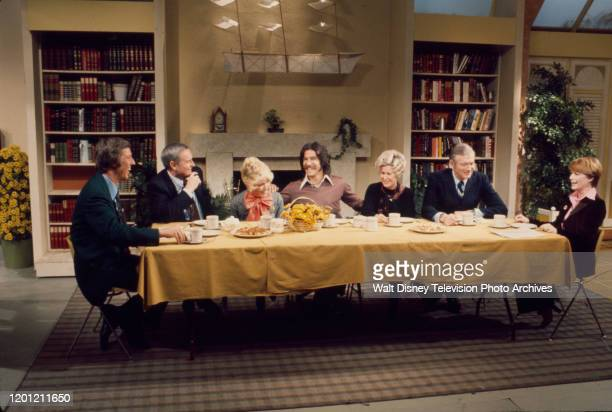 David Hartman, Jack Anderson, Rona Barrett, Geraldo Rivera, Erma Bombeck, John Lindsay, Nancy Dussault appearing on the ABC tv series 'Good Morning...