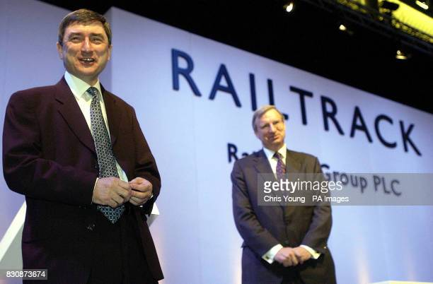 David Harvey Chief Executive of Railtrack and Chairman Geoffrey Howe at the Emergency General Meeting at Alexandra Palace where members will vote on...