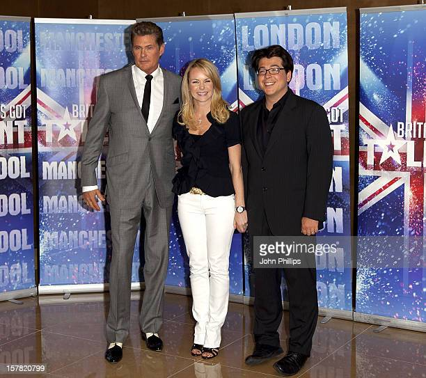 David Hasselhoff Amanda Holden And Michael Mcintyre Attend The Launch Photocall For The Britains Got Talent 2011 The May Fair Hotel London