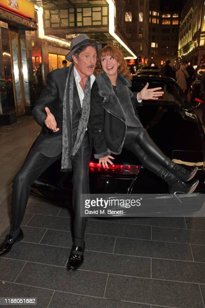 David Hasselhoff and Bonnie Langford pose with KITT from Knight Rider at the gala party to celebrate David Hasselhoff joining the cast of the West...
