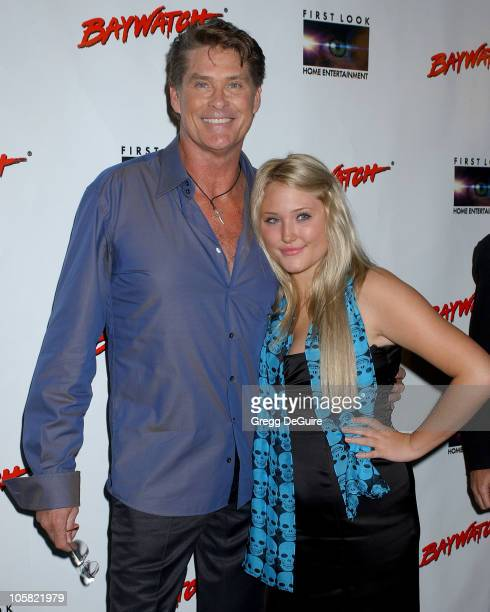 David Hasselhoff and daughter during Pamela Anderson Hosts DVD Release Of 'Baywatch' Seasons One And Two Arrivals at Casa Del Mar in Santa Monica...