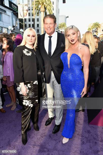 David Hasselhoff and daughters Taylor Ann Hasselhoff Hayley Hasselhoff arrive at the premiere of Disney and Marvel's Guardians Of The Galaxy Vol 2 at...