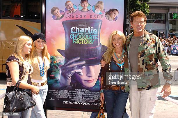 charlie and the chocolate factory film stock photos and  david hasselhoff and family during charlie and the chocolate factory los angeles premiere arrivals