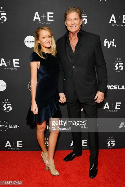 David Hasselhoff and Hayley Roberts attend the 2019 AE Networks Upfront at Jazz at Lincoln Center on March 27 2019 in New York City