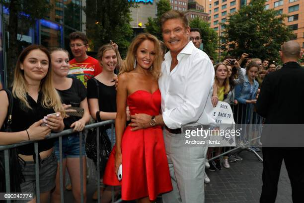 David Hasselhoff and Hayley Roberts attend the European premiere of 'Baywatch' at Cinestar on May 30 2017 in Berlin Germany