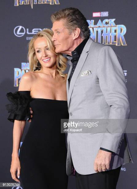 David Hasselhoff and Hayley Roberts attend the Los Angeles Premiere 'Black Panther' at Dolby Theatre on January 29 2018 in Hollywood California