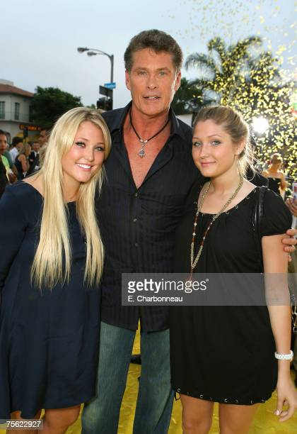 David Hasselhoff and his daughters Hayley Hasselhoff and Taylor Hasselhoff at the The Simpsons Movie premiere at The Mann Village Theaters on July 24...