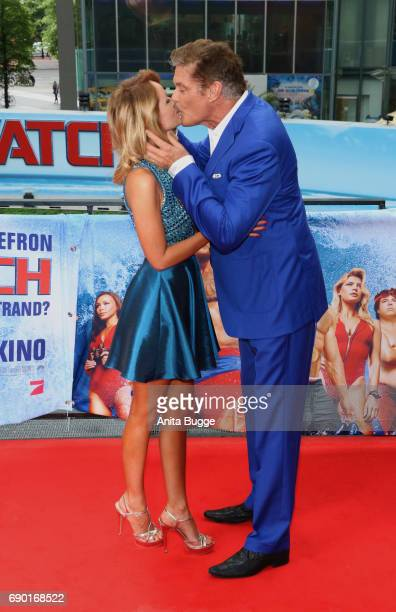 David Hasselhoff and his fiancee Hayley Roberts attend the 'Baywatch' photocall in Berlin on May 30 2017 in Berlin Germany