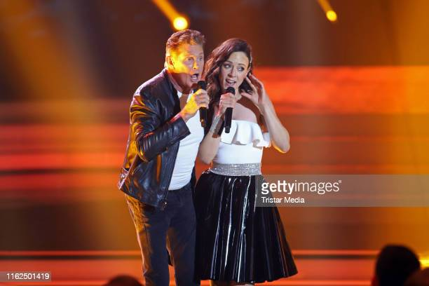 David Hasselhoff and Jasmin Wagner during the television show Willkommen bei Carmen Nebel at BadenArena on July 13 2019 in Offenburg Germany
