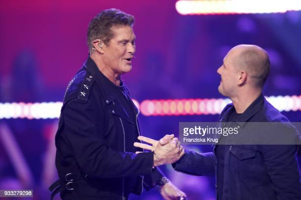 David Hasselhoff and Oli P during the TV show 'Heimlich Die grosse SchlagerUeberraschung' on March 17 2018 in Munich Germany