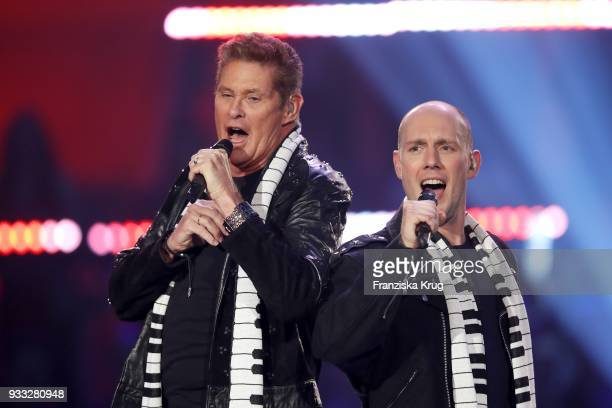 David Hasselhoff and Oli P perform during the TV show 'Heimlich Die grosse SchlagerUeberraschung' on March 17 2018 in Munich Germany