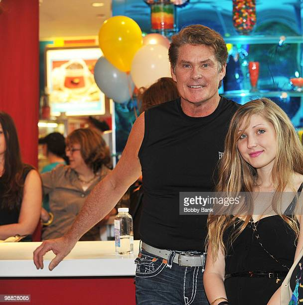 David Hasselhoff and Taylor Ann Hasselhoff stop by the Bernadette Peters book signing for Stella is a Star at Dylan's Candy Bar on May 3 2010 in New...