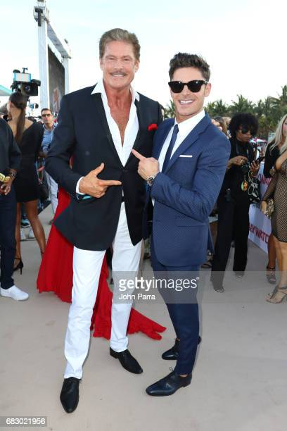 David Hasselhoff and Zac Efron attend the world premiere of Paramount Pictures film 'Baywatch' at South Beach on May 13 2017 in Miami Florida
