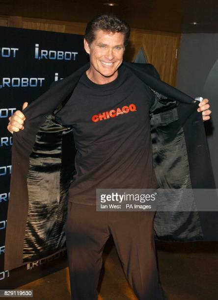 David Hasselhoff arrives for the aftershow party following the UK premiere of I Robot at the Odeon Leicester Square in central London