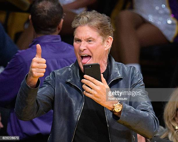 David Hasselhoff attends a basketball game between the Oklahoma City Thunder and the Los Angeles Lakers at Staples Center on November 22 2016 in Los...