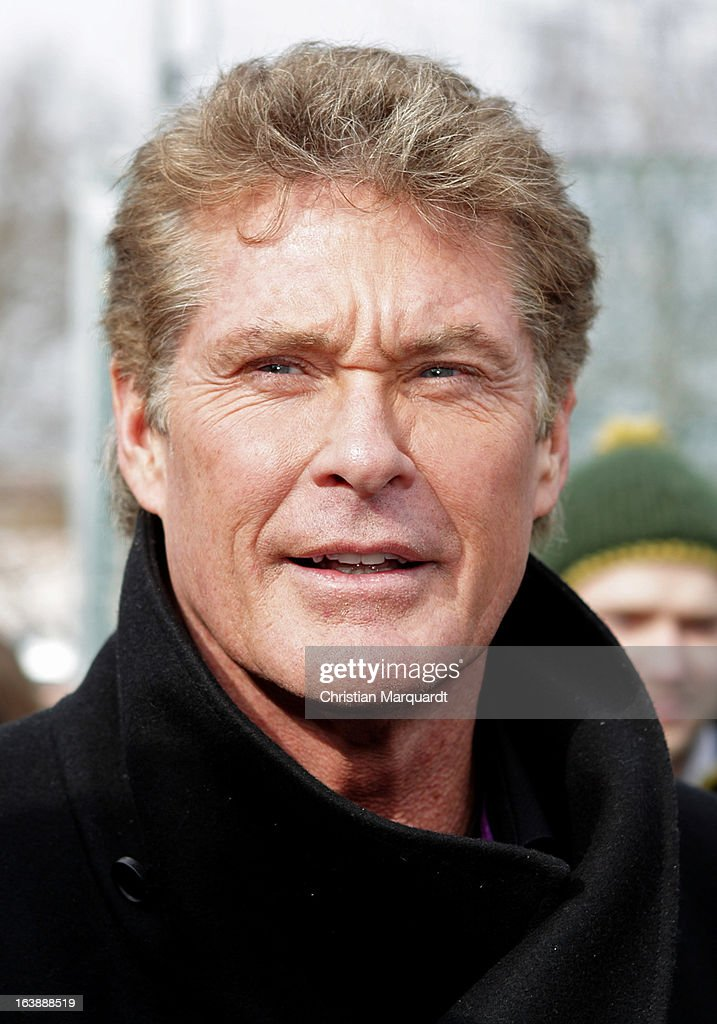 David Hasselhoff attends a Save the Wall protest at the East Side Gallery on March 17, 2013 in Berlin, Germany. A real estate developer is planning to build a 14-storey apartment building between the East Side Gallery and the Spree River and needs to remove the Wall section in order to allow access to the construction site.on March 17, 2013 in Berlin, Germany.