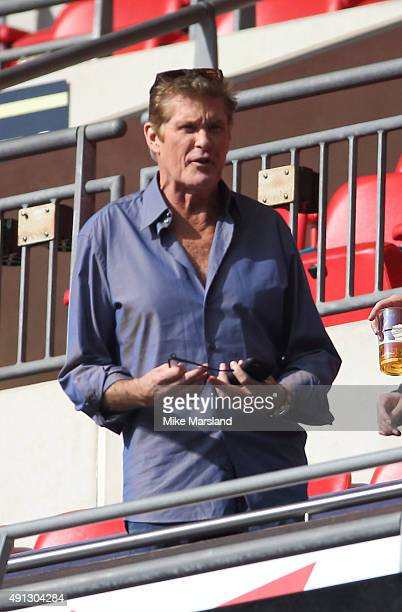 David Hasselhoff attends at the annual NFL International fixture as the New York Jets compete against the Miami Dolphins at Wembley Stadium on...