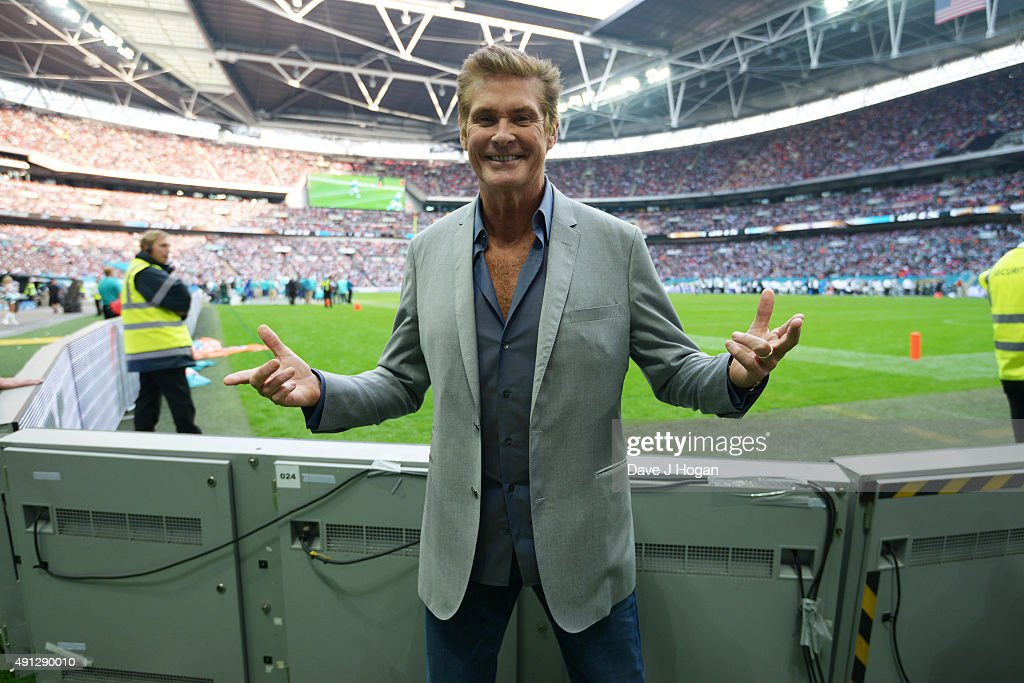 David Hasselhoff attends the annual NFL International Series as the New York Jets compete against the Miami Dolphins at Wembley Stadium on October 4, 2015 in London, England.