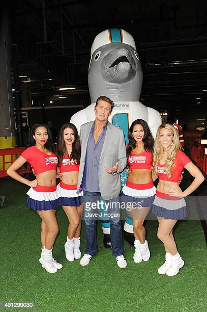 David Hasselhoff attends the annual NFL International Series as the New York Jets compete against the Miami Dolphins at Wembley Stadium on October 4...