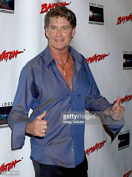 David Hasselhoff during Pamela Anderson Hosts DVD Release Of Baywatch Seasons One And Two Arrivals at Casa Del Mar in Santa Monica California United...