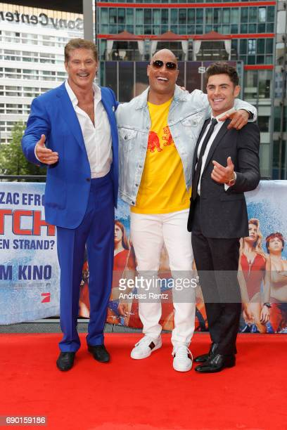 David Hasselhoff Dwayne Johnson and Zac Efron pose at the 'Baywatch' Photo Call at Sony Centre on May 30 2017 in Berlin Germany