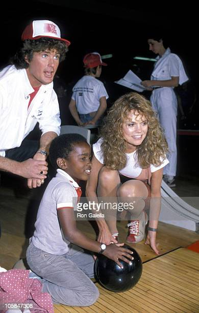 David Hasselhoff Guest and Dyan Cannon during Benefit for Big Brothers/Big Sisters Charity at Bowling Alley in Panama City California United States