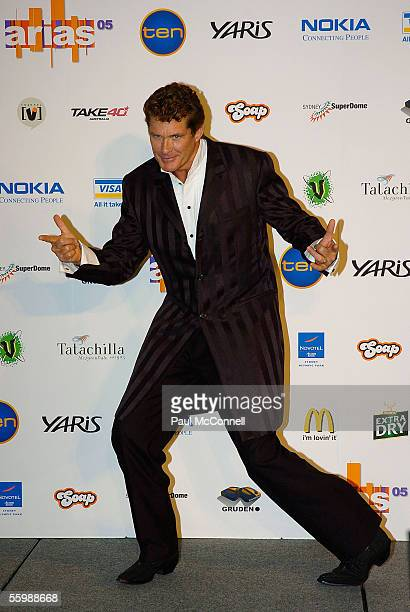 David Hasselhoff in the media room at the 19th Annual ARIA Awards at the Sydney SuperDome on October 23, 2005 in Sydney, Australia. The ARIA Awards...