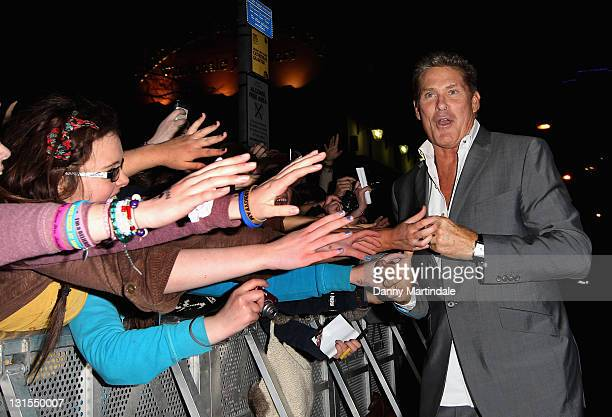 David Hasselhoff meets the crowd at the MTV Voices Dinner at Merchant Hotel on November 5 2011 in Belfast Northern Ireland