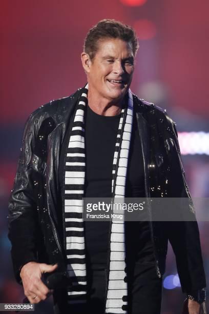 David Hasselhoff performs during the TV show 'Heimlich Die grosse SchlagerUeberraschung' on March 17 2018 in Munich Germany