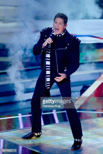 David Hasselhoff performs during the tv show 'Willkommen bei Carmen Nebel' on March 24, 2018 in Hof, Germany. The show will be aired on March 24,...