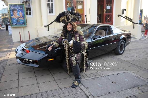 David Hasselhoff poses alongside KITT car to launch the Peter Pan pantomime at New Wimbledon Theatre on December 9 2010 in Wimbledon England