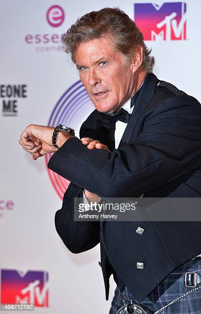 David Hasselhoff poses in the winners room at the MTV EMA's 2014 at The Hydro on November 9 2014 in Glasgow Scotland