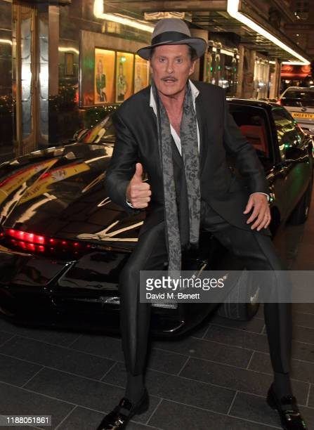 David Hasselhoff poses with KITT from Knight Rider at the gala party to celebrate David Hasselhoff joining the cast of the West End production of 9...