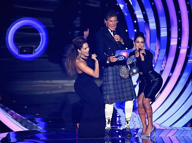 David Hasselhoff presents the award for Best Female on stage with Brianna Monique Danielson and Nicole GarciaColace of The Bella Twins during the MTV...