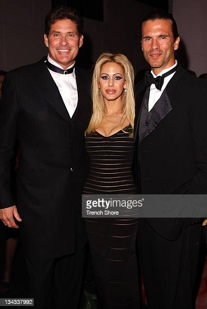 David Hasselhoff Shauna Sand and Lorenzo Lamas at the Golden Globe Awards at the Beverly Hilton January 20 2002 in Beverly Hills California