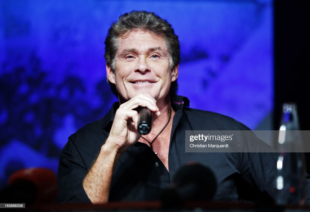 David Hasselhoff speaks to the media during a press conference for the Save the Wall protest at the East Side Gallery on March 17, 2013 in Berlin, Germany. A real estate developer is planning to build a 14-storey apartment building between the East Side Gallery and the Spree River and needs to remove the Wall section in order to allow access to the construction site.