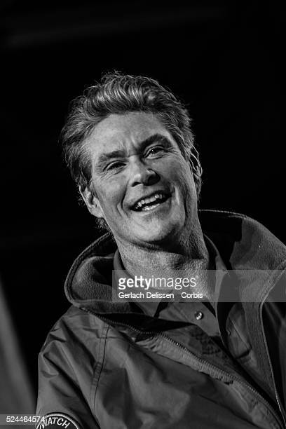 David Hasselhoff 'The Hoff' presenting the music event during the Acceleration 2014 Presentation Theater Hangaar Valkenburg The Netherlands January...