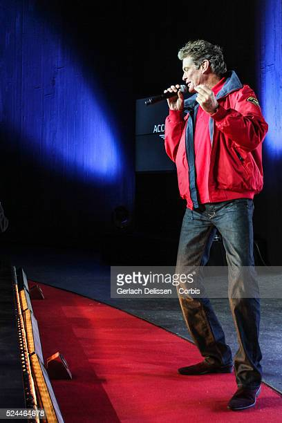 """David Hasselhoff, """"The Hoff"""" presenting the music event during the Acceleration 2014 Presentation, Theater Hangaar Valkenburg, The Netherlands,..."""