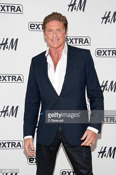 David Hasselhoff visits 'Extra' at their New York studios at HM in Times Square on March 29 2016 in New York City