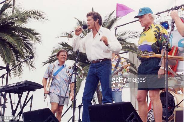 David Hasselhoff with Bruce Johnston and Mike Love of the Beach Boys