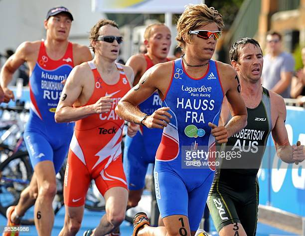 David Hauss of France leads a group of competitors during the run leg of the men's event at the Sydney round of the ITU World Championship Triathlon...