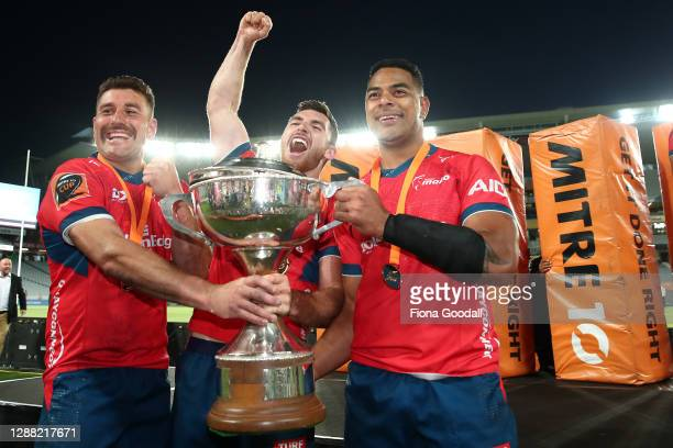 David Havili, captain of Tasman celebrates the win during the Mitre 10 Cup Final between Auckland and Tasman at Eden Park on November 28, 2020 in...