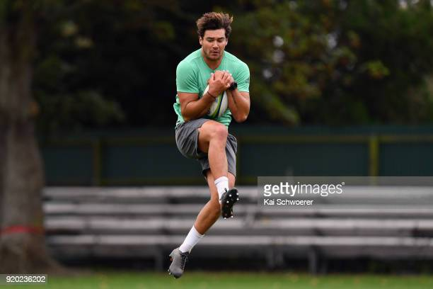 David Havili catches a ball during a Crusaders Super Rugby training session at Rugby Park on February 19 2018 in Christchurch New Zealand