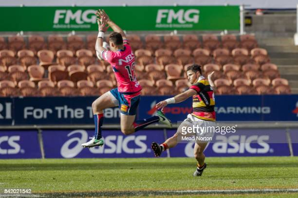 David Havili from Tasman blocking a kick during the round three Mitre 10 Cup match between Waikato and Tasman on September 3 2017 in Hamilton New...