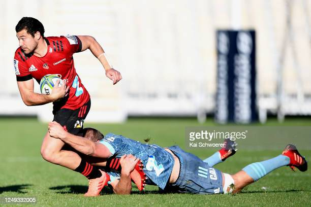 David Havili is tackled during the Crusaders practice match at Orangetheory Stadium on June 13, 2020 in Christchurch, New Zealand.