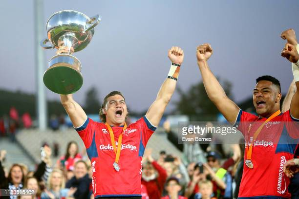 David Havili lifts the Mitre 10 Cup during the Mitre 10 Cup Premiership Final between Tasman and Wellington at Trafalgar Park on October 26 2019 in...